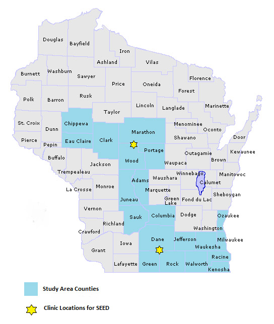 Study Map - Wisconsin counties and clinics